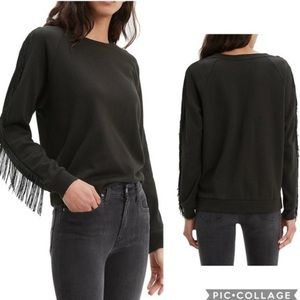 Levi's Reece Crew Fringe Pullover Sweatshirt Black